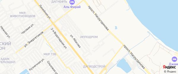 Микрорайон Ипподром на карте Махачкалы с номерами домов