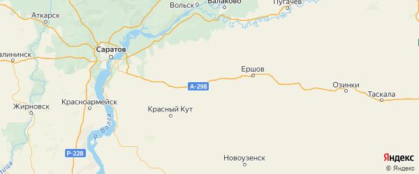 Карта Федоровского района Саратовской области с городами и населенными пунктами