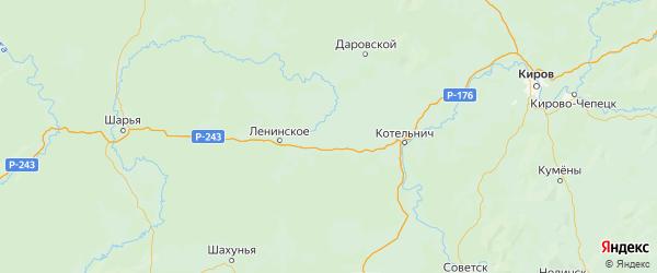 Карта Свечинского района Кировской области с городами и населенными пунктами