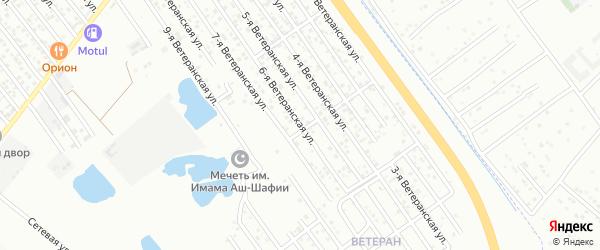 Ветеранская 6-я улица на карте микрорайона Ветерана с номерами домов