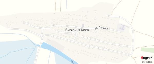 Улица Ленина на карте села Бирючьей Коса Астраханской области с номерами домов