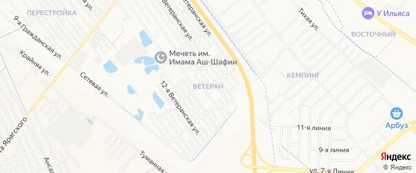 Микрорайон Ветеран на карте Махачкалы с номерами домов