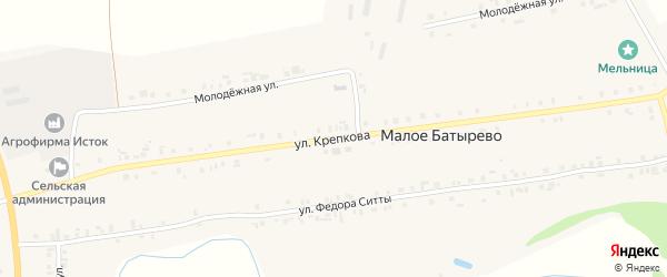 Улица Крепкова на карте деревни Малое Батырево с номерами домов