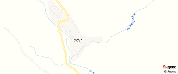 Школьная улица на карте села Усуга Дагестана с номерами домов