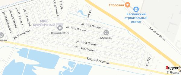 Улица Весна СНТ Линия 12 на карте Каспийска с номерами домов