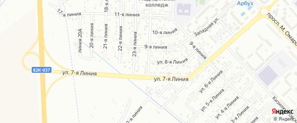 8-я линия на карте гаражно-строительного кооператива Сигнала ПГСК с номерами домов