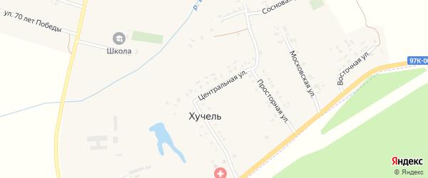 Центральная улица на карте деревни Хучели с номерами домов