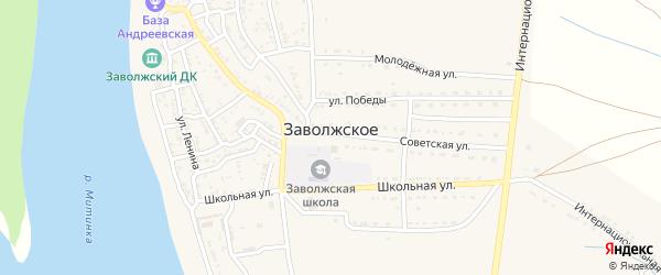 Зеленая улица на карте Заволжского села Астраханской области с номерами домов
