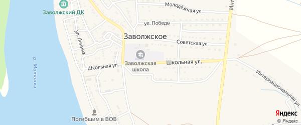 Школьная улица на карте Заволжского села Астраханской области с номерами домов
