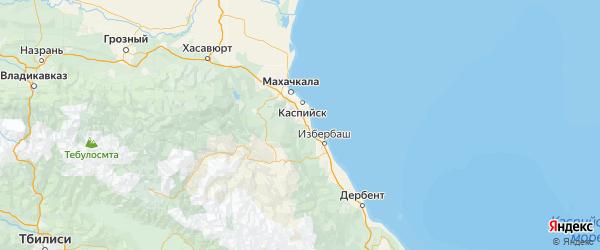 Карта Карабудахкентского района Республики Дагестана с городами и населенными пунктами