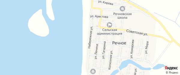 Набережная улица на карте Речного села Астраханской области с номерами домов