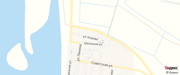 Улица Кирова на карте Речного села Астраханской области с номерами домов