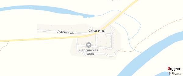 Звездный переулок на карте села Сергино Астраханской области с номерами домов