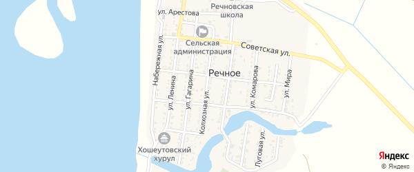 Колхозная улица на карте Речного села Астраханской области с номерами домов