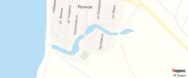 Комсомольская улица на карте Речного села Астраханской области с номерами домов