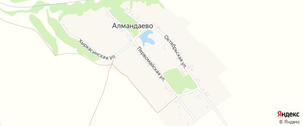 Первомайская улица на карте деревни Алмандаево с номерами домов