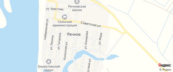Улица Комарова на карте Речного села Астраханской области с номерами домов