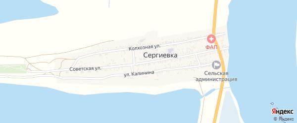 Советская улица на карте села Сергиевки Астраханской области с номерами домов