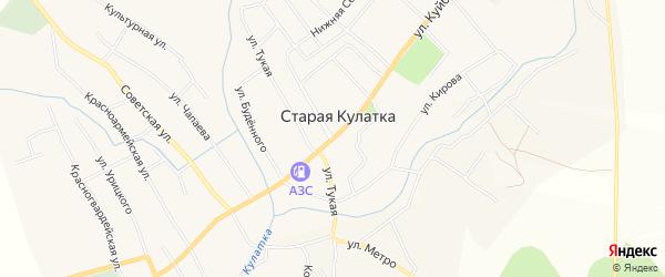 Карта поселка Старой Кулатки в Ульяновской области с улицами и номерами домов