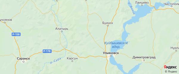Карта Дрожжановского района Республики Татарстана с городами и населенными пунктами