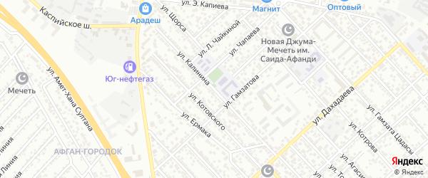 Улица Калинина на карте Каспийска с номерами домов