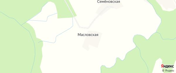 Карта Масловской деревни в Архангельской области с улицами и номерами домов
