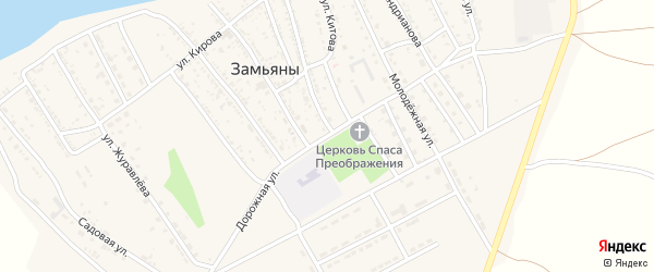 Дорожная улица на карте села Замьяны Астраханской области с номерами домов