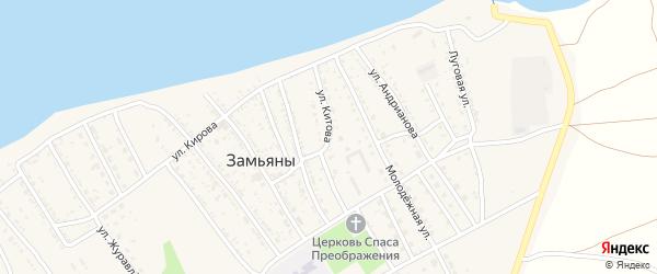 Улица Китова на карте села Замьяны Астраханской области с номерами домов
