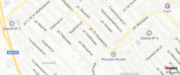 Улица Казбекова на карте Каспийска с номерами домов