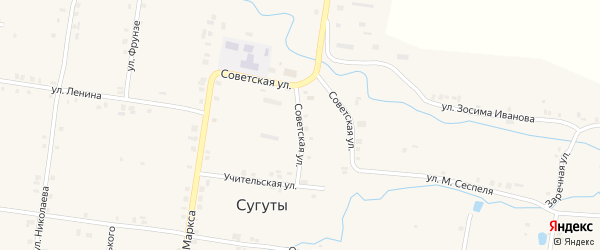 Советская улица на карте села Сугуты с номерами домов