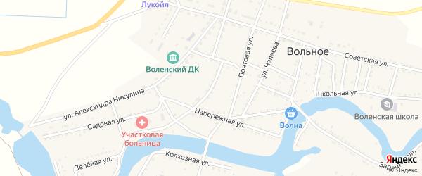Свободная улица на карте Вольного села Астраханской области с номерами домов