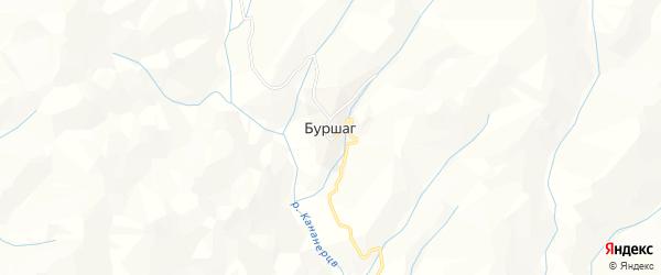 Карта села Буршага в Дагестане с улицами и номерами домов
