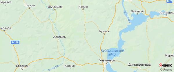 Карта Шемуршинского района Республики Чувашии с городами и населенными пунктами