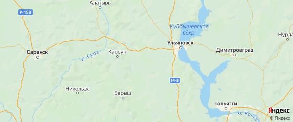 Карта Майнского района Ульяновской области с городами и населенными пунктами