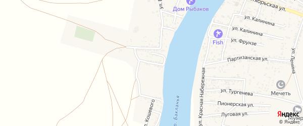 Улица Зои Космодемьянской на карте Товарного поселка Астраханской области с номерами домов