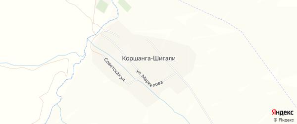 Карта деревни Коршанги-Шигали в Татарстане с улицами и номерами домов