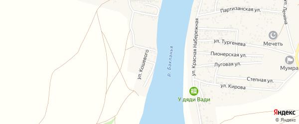 Бакинская улица на карте Товарного поселка Астраханской области с номерами домов