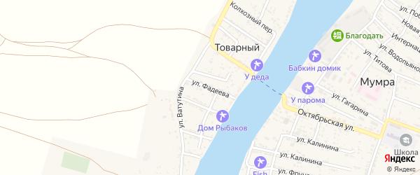 Улица Фадеева на карте Товарного поселка Астраханской области с номерами домов