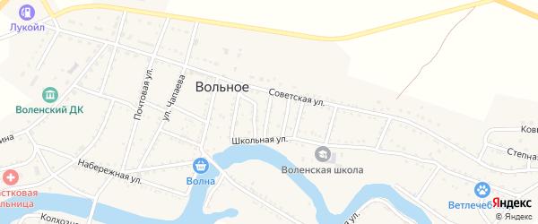 Улица Крупской на карте Вольного села Астраханской области с номерами домов
