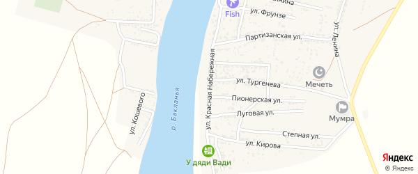 Красная Набережная улица на карте села Мумры Астраханской области с номерами домов