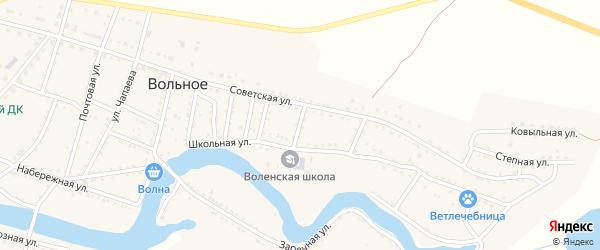 Школьный переулок на карте Вольного села Астраханской области с номерами домов
