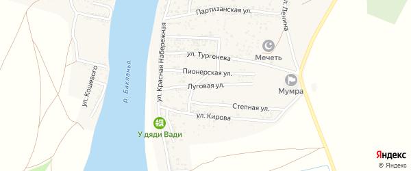 Луговая улица на карте села Мумры Астраханской области с номерами домов