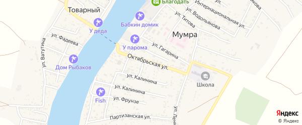 Октябрьская улица на карте села Мумры Астраханской области с номерами домов