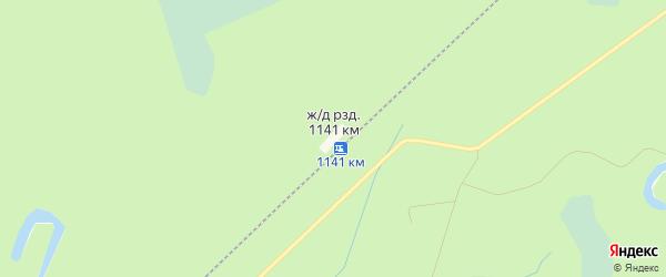 Карта железнодорожного разъезда 1141 км в Архангельской области с улицами и номерами домов
