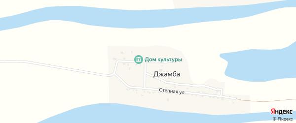 Заречная улица на карте села Джамбы Астраханской области с номерами домов