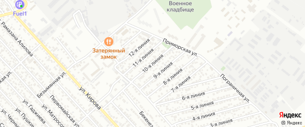 Улица Каспий СНТ Линия 10 на карте Каспийска с номерами домов