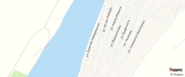 Красная Набережная улица на карте села Трудфронта Астраханской области с номерами домов