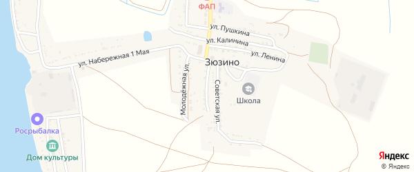 Улица Урицкого на карте села Зюзино Астраханской области с номерами домов