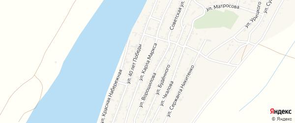 Переулок Карла Маркса на карте села Трудфронта Астраханской области с номерами домов