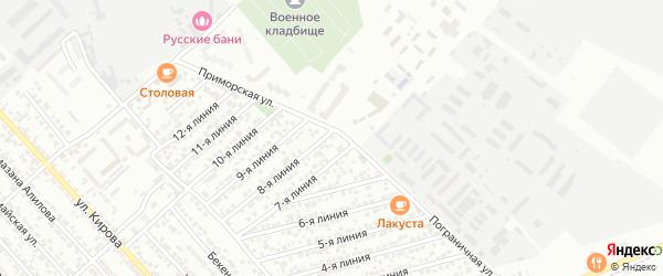 Улица Линия 3 на карте микрорайона Камнеобрабат-щий з-д и Очистные сооруж-я с номерами домов